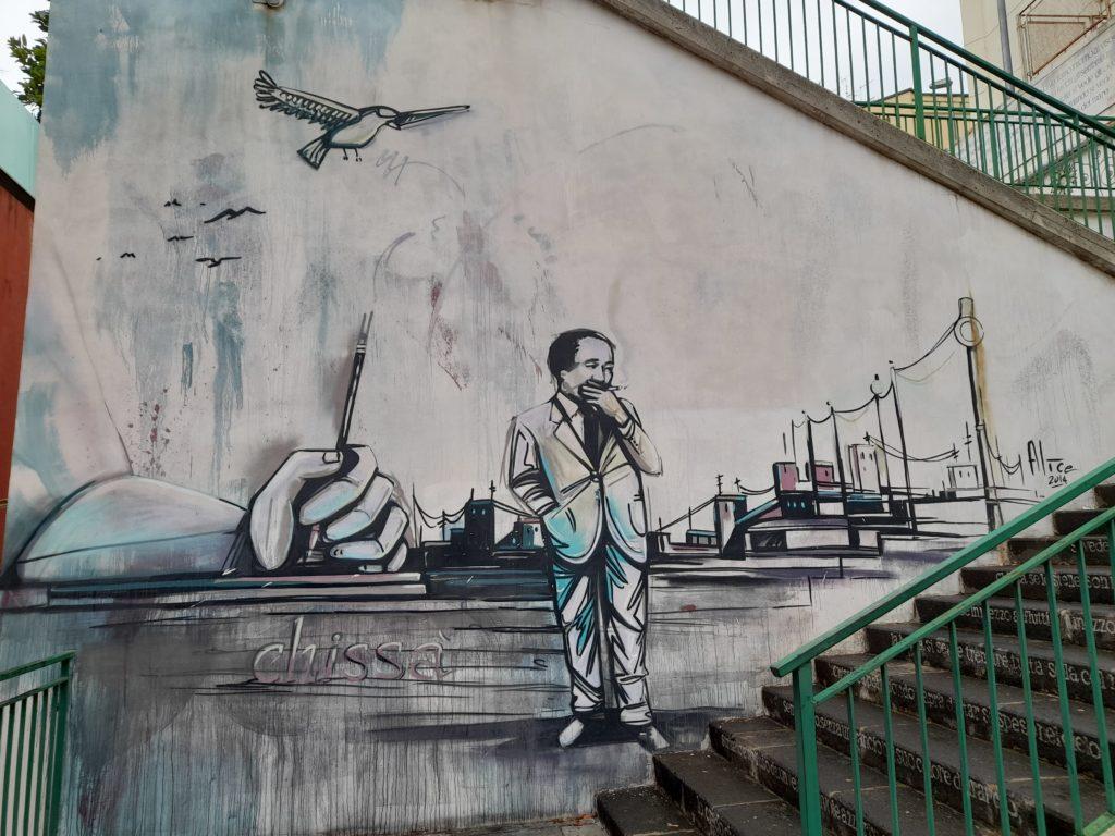 Alfonso Gatto rappresentato nel murales di Alice Pasquini