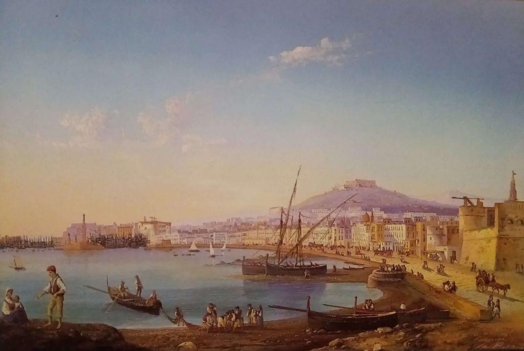 Gouache con l'immagine di Napoli vista dal Carmine, dipinta da Gioacchino la Pira