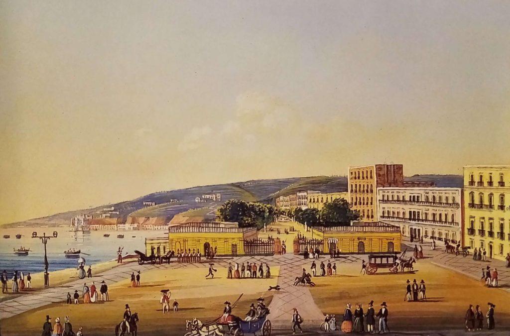 Gouache con la riviera di Chiaia e la villa reale, attuale villa comunale